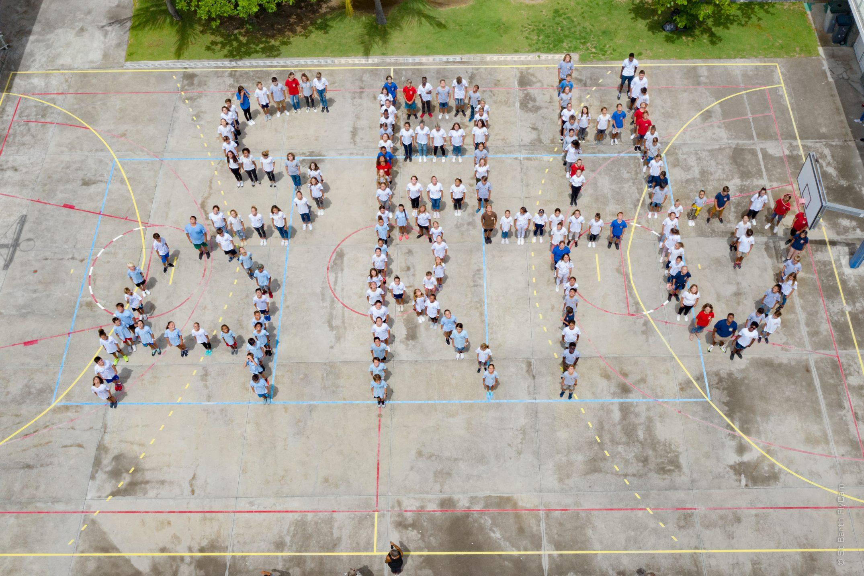 Photo aérienne du flashmob