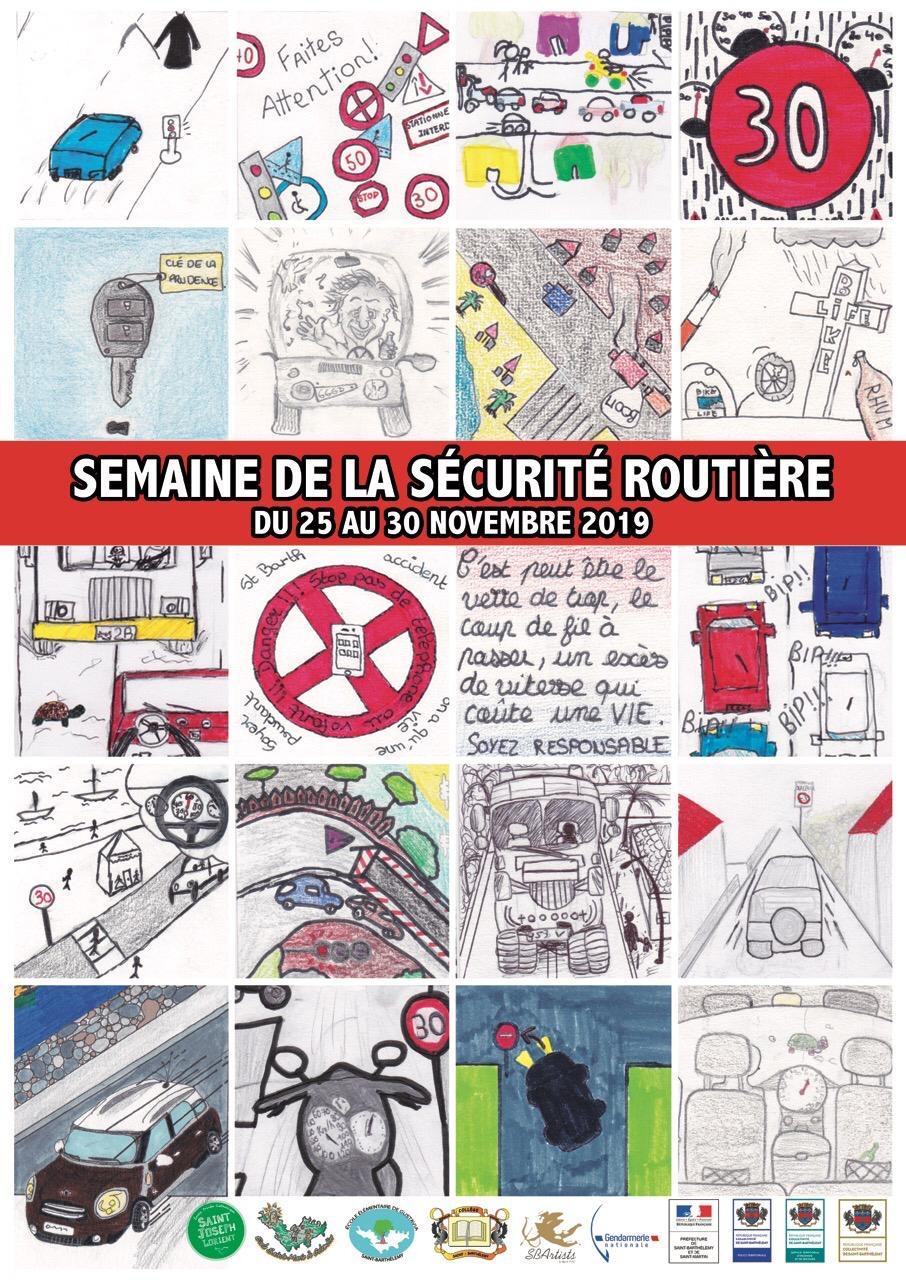affiche de la semaine de la securite routiere realisee par les eleves du college